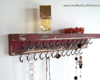 Distressed Finish Jewelry Organizer: Rustic Decor - Red w/25 Black Hooks; Shabby Jewelry Organizer; Multiple colors/sizes available!