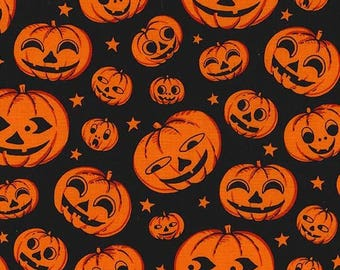 SALE Gnome Halloween Pumpkin Heads Black - Michael Miller - Orange Pumpkins - Quilting Cotton Fabric - choose your cut
