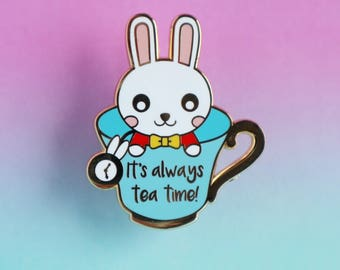 White Rabbit Enamel Pin - Disney Alice in Wonderland - enamel pin - lapel pin badge - pin collector - kawaii pin - tea - tea time - rabbit