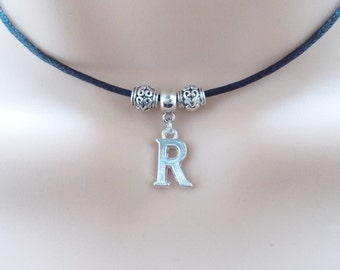 choose initial choker - personalised jewellery - initial necklace - black cord choker necklace with initial charm