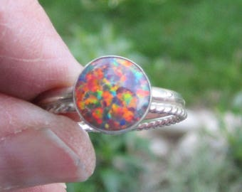 Fire Opal Sterling Silver Ring - Size 9 1/2