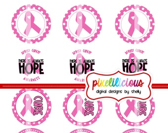 Breast Cancer Awareness - Digital Collage - 2 Inch Circles - Buy 2 Get 1 Free