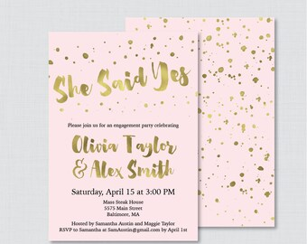 Pink and Gold Engagement Party Invitation Printable or Printed - Faux Gold Foil Engagement Party Invitation, Pink and Gold Party 0010-P