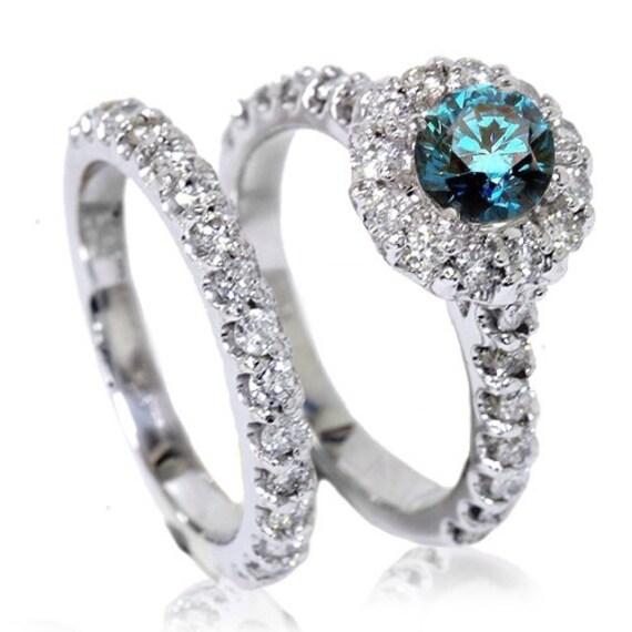 185CT Blue Diamond Halo Engagement Matching Wedding Ring Band