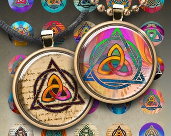 1 inch and 1.5 inch size circles TRIQUETRA Digital Collage Sheets Printable Art Cult images for pendants magnets bottle caps bezel trays