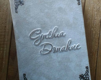 leather and suede Notebooks with your name, handmade