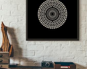 Mandala, Circle, Black & White, Instant Digital Download, Home Decor, Art Print