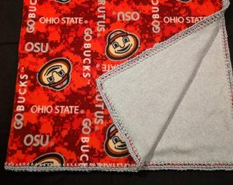 Ohio State University Buckeye Fleece Blanket - OSU - Double Layer