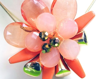 Beaded Flower Pendant Autumn Coral
