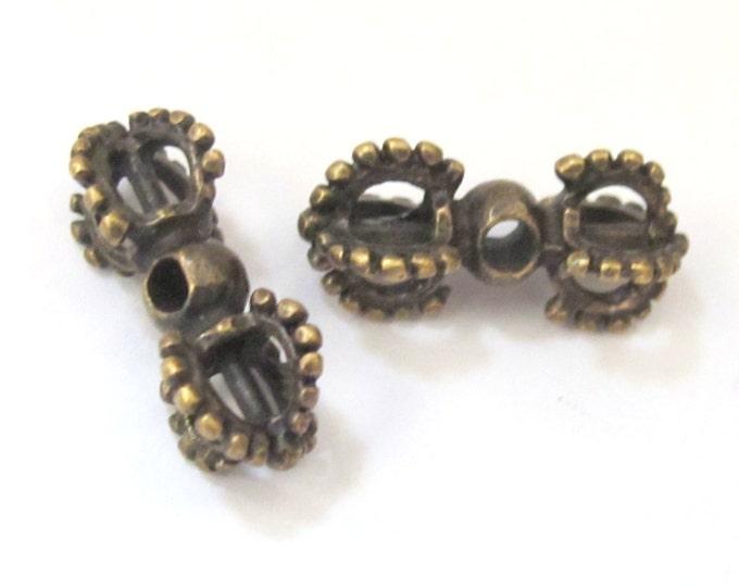 4 BEADS - Tibetan vajra dorje antiqued brass tone mala spacer beads - BD582