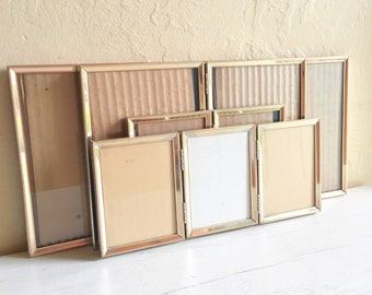 Matching Mid-Century Gold Metal Picture Frames All Sizes 5x7 and 3.5x5 Bi-fold Tri-fold Folding