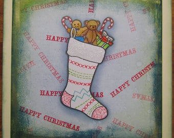 """Handmade """"Happy Christmas"""" card - For Mum, Dad, Uncle, Aunt, Nan, Grandad, Son, Daughter, Brother, Sister, Friends"""
