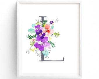 Purple Floral Printable Letter L Monogram, Floral, Grey letters,  Flower Lettering, Nursery, Plum, Purple, Baby monogram