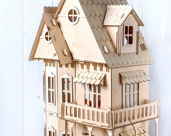 Dollhouse kit . Vector model for laser cut. Instant download
