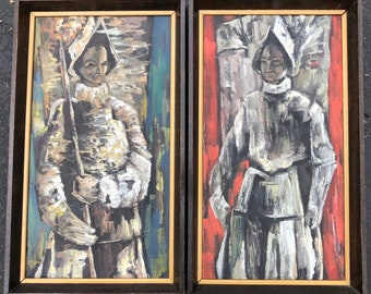 Pair of Original Vintage 1960s Conquistador Oil Paintings Wall Hangings Mid Century Modern Retro Art Sixties Spanish Spain