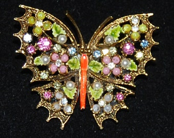 signed art butterfly brooch