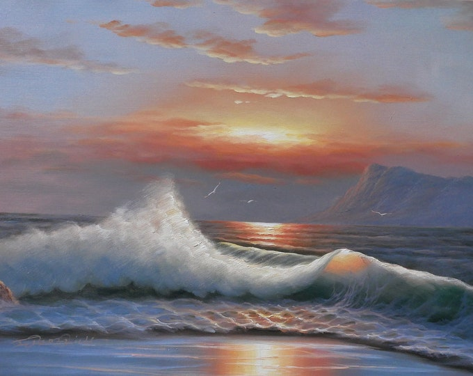 Sunset Ocean Art Sunlit Wave Painting GreyBlue Sky Oil on Canvas Wall Art Beautiful Decor