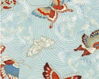 Chiyogami or yuzen paper - floating, fluttering butterflies, peacock blue and cherry red, 9x12 inches