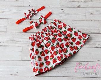 Strawberry Skirt, Girl's Skirt, Cotton Skirt, Baby Skirt, Toddler Skirt, Skirt Set, Baby Girl Skirt, Strawberry Outfit, Red Girl's Skirt