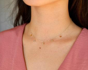 "The Kela Necklace - 15"" necklace made of 14 karat gold fill with gold swarovski element beading"