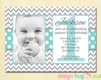 Custom invitations holiday cards and more by designbugstudio boys chevrons and polka dots birthday invitation gray and aqua blue 1 2 stopboris Images
