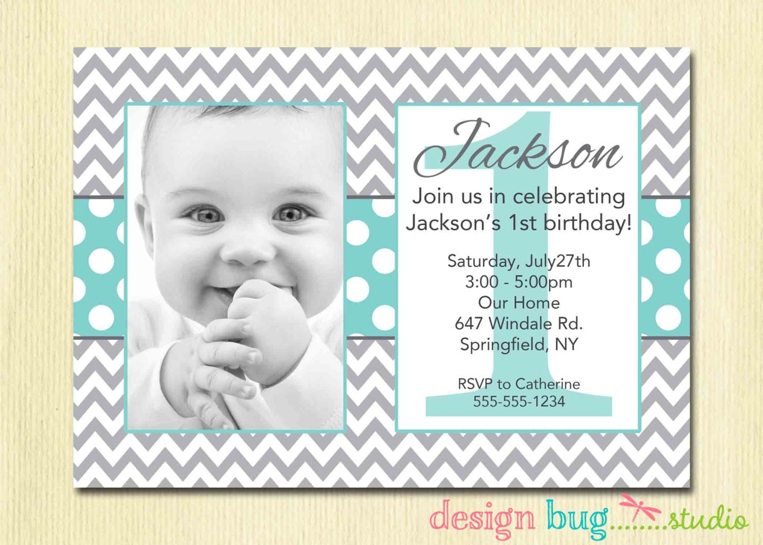 Boys chevrons and polka dots birthday invitation gray zoom filmwisefo Images
