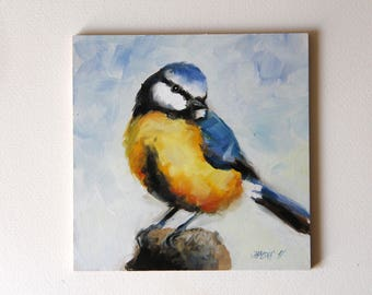 Tit oil painting, Birds original oil painting, Birds art, Christmas gifts, birthday gifts