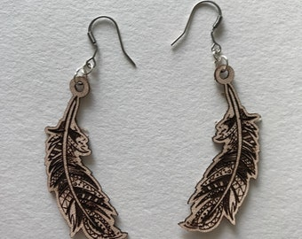Boho Feather Leather Wood or Acrylic Earrings
