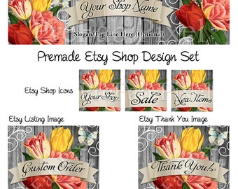 Rustic Wood Banner Set, Vintage Tulip Cover Photo, Country Shop Banner, Shabby Chic Banner, Barn Wood Banner, Cottage Farmhouse Banner
