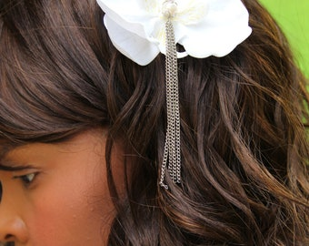 """Bridal hair accessory,soft white orchid with pearl and chain detail """"Maxine"""""""