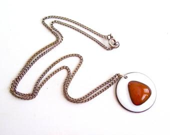 Kay Denning Pendant Necklace, Vintage DENNING Copper Enamel Fused Glass Bubble Modernist Abstract Pendant, Modernist Copper, Mid Century