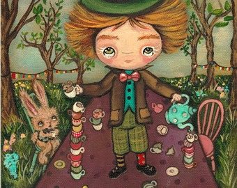 The Mad Hatter Print Cute Mad Tea Party Fairy Tale Wall Art --- Mad Tea Table
