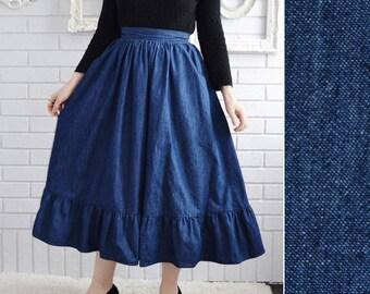 Vintage Denim Midi Skirt with Pockets and Ruffles by Joe Benbasset Size XS