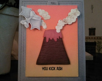 Interactive Erupting Volcano Graduation Card, You Kick Ash Volcano Card, Prehistoric Card