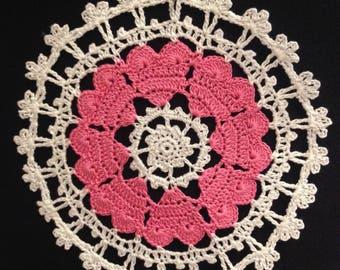 Handmade doily, crochet doily, Christmas doily, Valentine Day doily, tablecloth, Christmas gift idea, coaster, crochet coaster,home decor