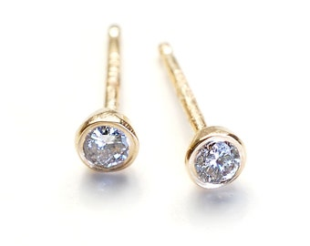 Diamond Earrings, Small Diamond Earrings, Diamond Studs, Gold Diamond Earrings, Round Diamond Earrings, Bezel Set Diamond Earrings, Nixin