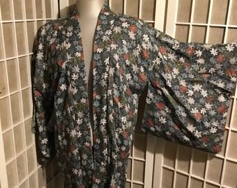 Vintage Silk Hand Painted Kimono Floral 1970s