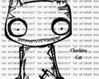 INSTANT DOWNLOAD Cheshire Cat Digital Stamp