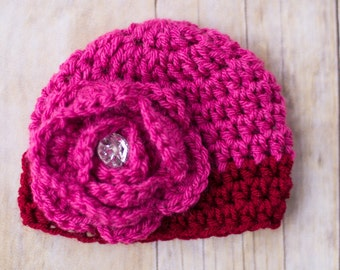 Color-Blocked Pink and Red Beanie with Large Pink  Flower with Rhinestone