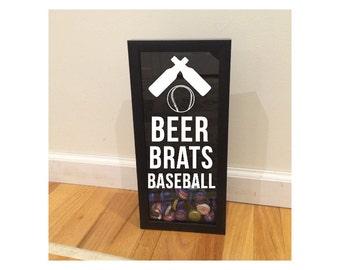 "Bottle Cap Holder Shadow Box - Beer, Brats, Baseball - Black (6"" x 14"") - Vinyl Decal Gifts, Home Bar Accessories"