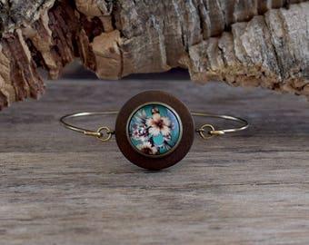 Hibiscus bangle bracelet, Hibiscus flower, Hibiscus jewelry, Hawaiian bracelet, Wooden bracelet, Floral bracelet, Tropical bracelet TJ 073