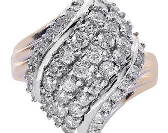2.50 Carat Diamond Cluster Twist Ring 14K Two Tone Gold