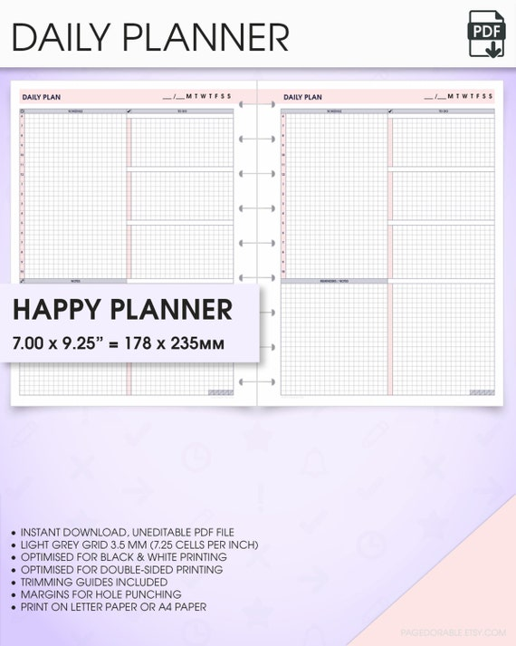 Daily Happy Planner Inserts Undated Printable Do1p Daily