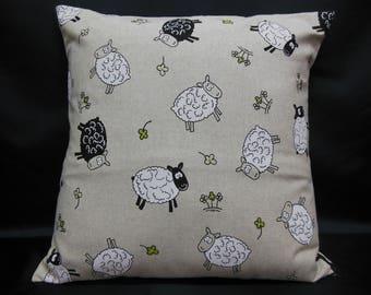 """Sheep"" funny animals cushion black and white"