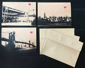 NYC Lover's Brooklyn set of 3 blank note cards