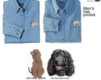 Irish Water Spaniel Denim Shirt - Womens