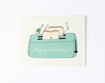 Birthday Card, Birthday Toast Card, Toast Card, Toast To You Card, Toast Birthday Card, Champagne Toast Card, Toasting Card, Toaster Card