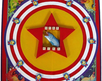 ALTERED GAME BOARD, Colorful 3d Assemblage - Star Fish