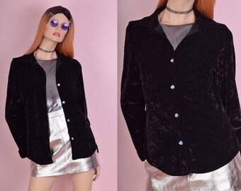 90s Black Crushed Velvet Button Down Shirt/ Small/ 1990s/ Long Sleeve