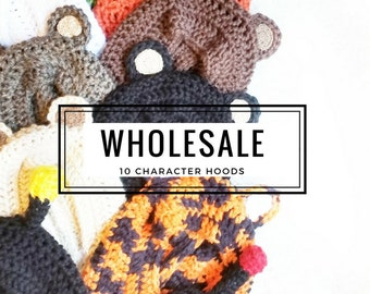 WHOLESALE Character Hoods: 10 Hood Set for Boutique Shops & Vendors. Toddler Boutique Inventory